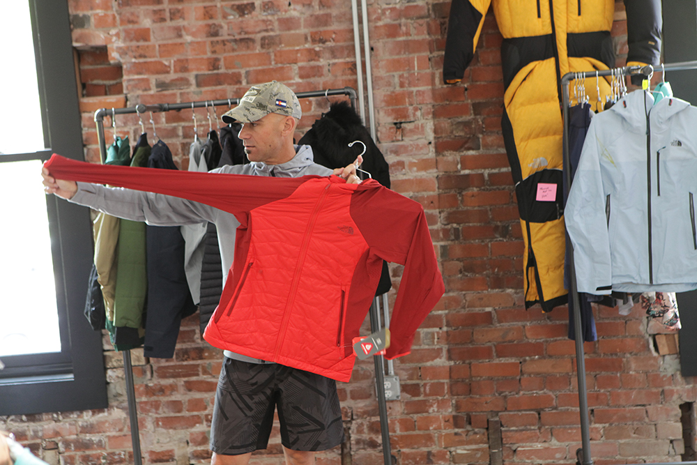 The North Face Vice President and Head of Apparel Kevin Joyce shows one of TNF's new layers for spring/summer 2017.