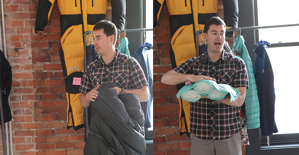 The North Face Product Manager Dan Rogers shows off new sleeping bags for spring/summer 2017, including the company's double-weave tech that weaves in baffles instead having to stitch them in afterward.