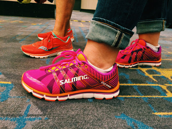 Women retailers pair running footwear with their everyday outfit.