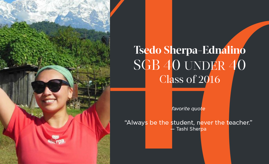 Tsedo Sherpa-Ednalino, SGB 40 Under 40 Class of 2016