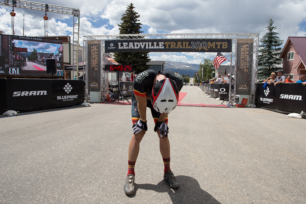 Athletes crossing the Leadville 100 MTB finish line have traveled a distance of 100 miles, starting at 10,152 feet and climbing to 12,424 feet above sea-level.