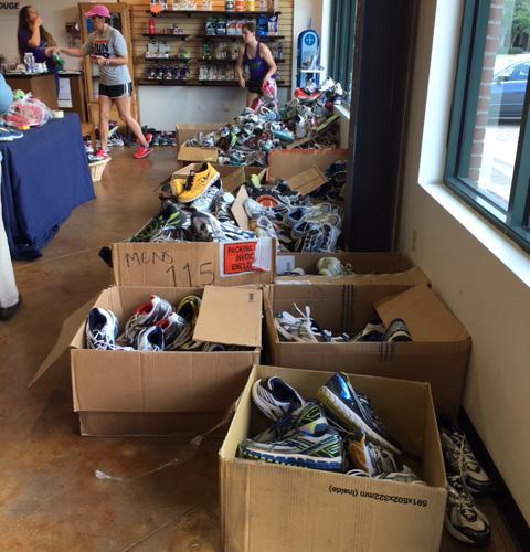 First round of sorting at Fleet Feet Baton Rouge