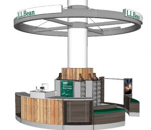 The kiosk is designed to wrap around one of the columns inside the Shops at Prudential Center in downtown Boston.