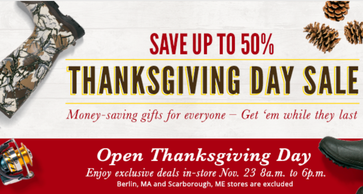 Cabela's stores close on Thanksgiving, but open at 6 a.m. on Black Friday for door buster deals. The discounts and deals on Cabelas Black Friday Sale will begin from 23rd November The Cabelas Black Friday Sale offers amazing clothing, safety and survival, lights and more on discount up to 80% off.