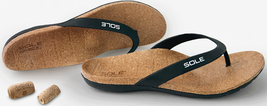 5587fe5459f3 SOLE Beach Flips are made with 100 percent recycled wine corks with a  metatarsal pad